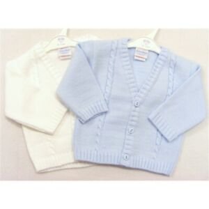 NEW BOYS KNITTED CABLE CARDIGAN KINDER PRAM COAT 0 - 24 M BABY BLUE WHITE IVORY