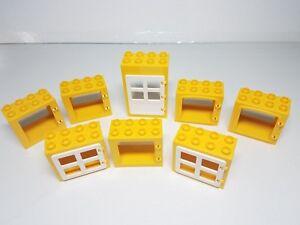 Details about 6 Yellow Window Frames White Pane Door Lego DUPLO Brick House  Building Blocks