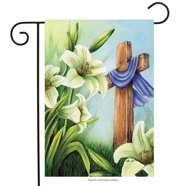 Easter Cross Religious Garden Flag Lilies Resurrection 12.5\