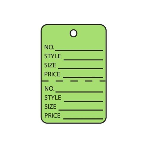 """Perforated 1000 //Case/"""" /""""Garment Tags 1 1//4/""""/"""" x 1 7//8/""""/"""" Green"""