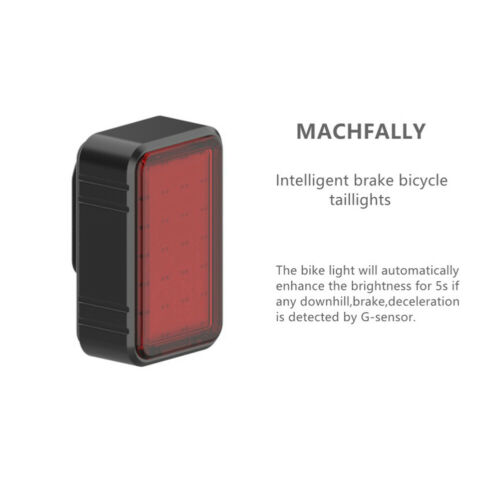Intelligent LED Bicycle Rear Tail Light Auto Sensor Brake Warning Rechargeable