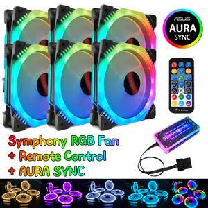 Details about 6Pack PC Computer Case RGB Fans 120mm Cooling Symphony AURA  SYNC Remote Control