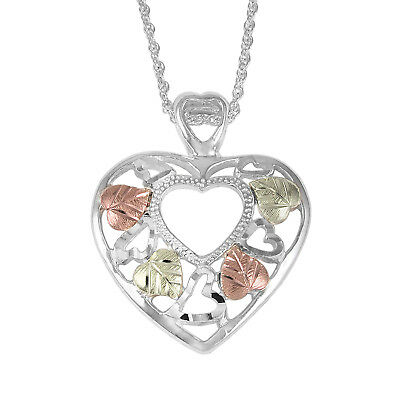 Sterling Silver 18in 12K Rose and Leaves Floating Heart Necklace