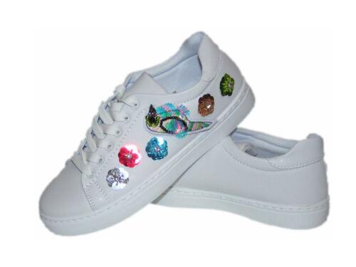 Damen Schuhe Sneaker SILBER GLITZER Sportschuhe Ballerina Freizeit Turnschuhe
