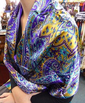 Silky Paisley Design Long Scarf, Shawl, Wrap. Purple