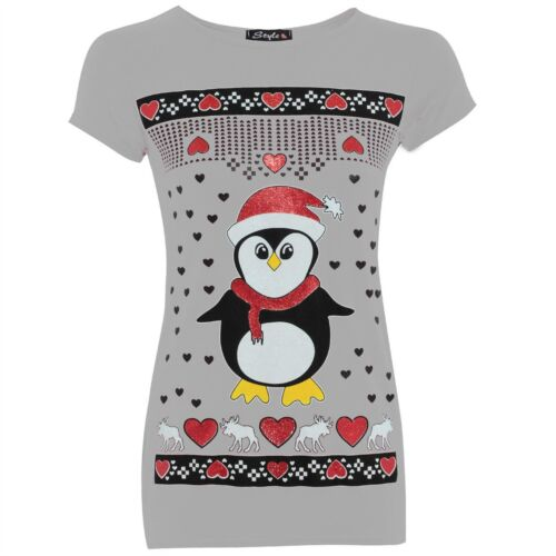 Womens Ladies Christmas Xmas Glitter Olaf Reindeer Batman Penguin T Shirt Tops