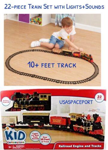22-piece Railroad TRAIN SET Battery Locamotive 3-Cars 10+ft Track Christmas Tree