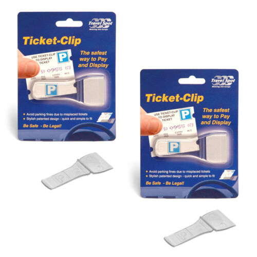 2 x Travel Spot TICKET CLIP Car Van Windscreen Parking Ticket Pass Badge Holder