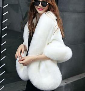 Women Vogue Ladies Warm Top Fur Shawl Imbottito Size White Elegant Faux Party wgY8Bxgq