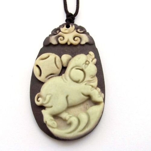 Two Layer Natural Stone Happy Lucky Chinese Zodiac Pig Coin Amulet Pendant