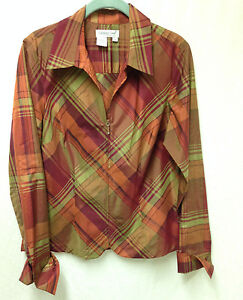 Coldwater-Creek-Shirt-Tunic-Silk-Blend-Zip-Plaid-Light-Weight-Women-039-s-M