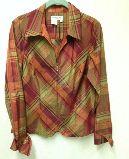 Coldwater Creek Shirt Tunic Silk Blend Zip Plaid Light Weight Women's M