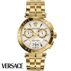 Versace-VE1D00419-Aion-Chronograph-silber-gold-Edelstahl-Armband-Uhr-Herren-NEU