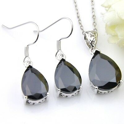 Fire Round White Zirconia Silver Dangle Earrings Pendant Necklace Jewelry Set