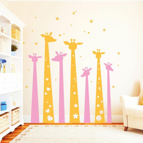 10822 Wandtattoo Loft Sticker Giraffes Stars Heart 2-farbig Animal Camelopard