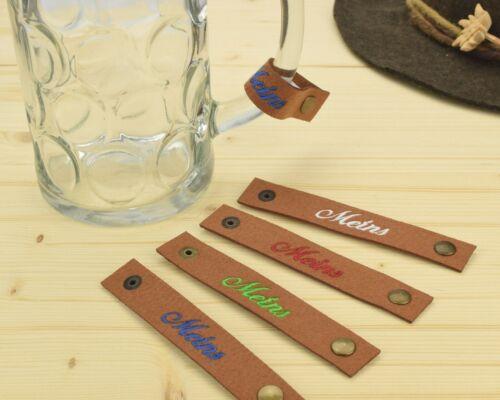 Masskrugband Besticktes Maßkrugband /'Meins/' aus Filz für den Henkel