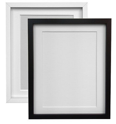 White or Black Picture Photo Frames with Ivory White or Black Mount RIO MDF Wood