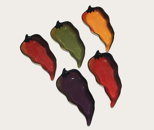 5 Clay Art Chili Pepper Shaped Appetizer Dip Bowls Ong Red Yel Purple Grn NWOT
