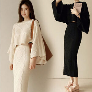 Womens 2 Piece Knitting Batwing Long Pack Hip Sets Top Dress Sweater
