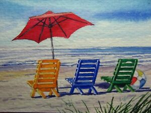 Details about Watercolor Painting Ocean Beach Chair Umbrella Ball Nature  ACEO Art Auction
