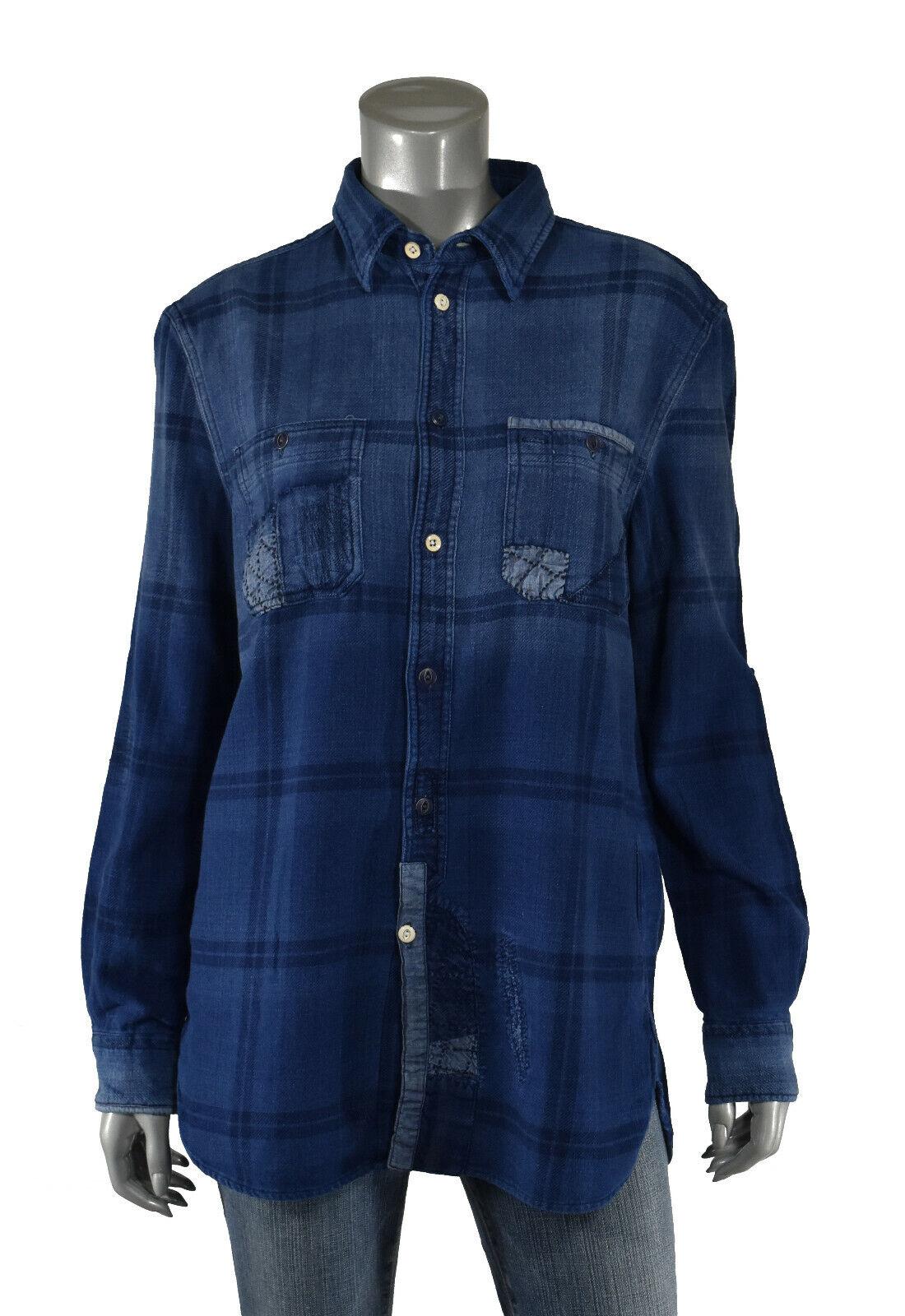 Woherren Ralph Lauren Polo Relaxed Fit Repairot Patchwork Flannel Shirt New