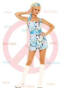 Sexy-60-039-s-Hippie-Chick-Costume-Op-Art-Silk-Mini-Dress-Belt-and-Scarf-Large-9782