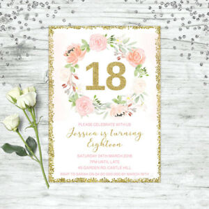 Image Is Loading FLORAL 18TH BIRTHDAY INVITATIONS PINK GOLD CONFETTI EIGHTEEN