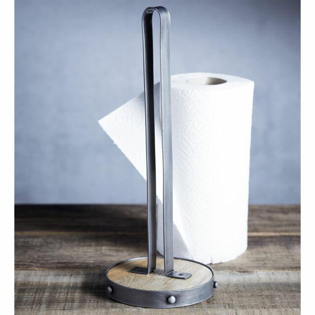 Kitchen Craft Industrial Kitchen Paper Towel Roll Holder - Metal / Mango Wood