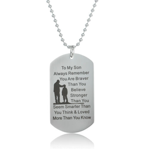Thank You Gift Dad Son Dog Tag Necklace Stainless Steel Pendant Inspirational