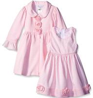 Bonnie Jean Girls Pink White Brick Pattern Easter Dress & Coat Set 2t 3t 4t