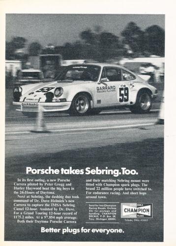 1973 Porsche Carrera Race IMSA 911 Vintage Advertisement Car Print Ad J376