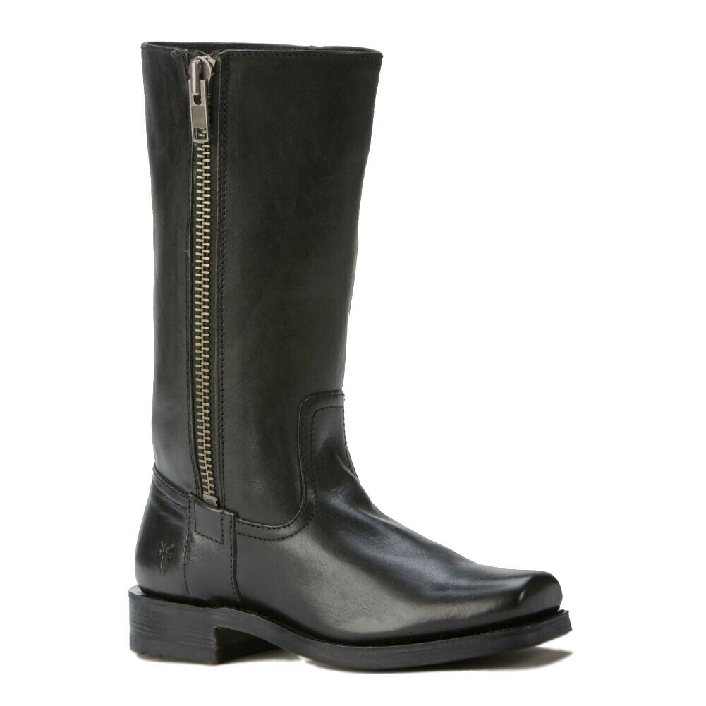 New FRYE Heath Outside Zip Black Oiled Suede Leather Boots Ladies 6