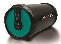 Axess Indoor/outdoor Hi-fi 3 Green Cylinder Bluetooth Speaker Spbt1030-grn on Sale
