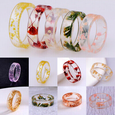 Fashion Dried Flower Transparent Resin Rings Diy Women Party