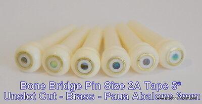 Set acoustic guitar Bone bridge pins 3mm green abalone brass size 2A UNSLOT CUT