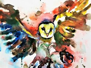 Barn Owl Bird Paint abstract Animals SINGLE CANVAS WALL ART Picture Print