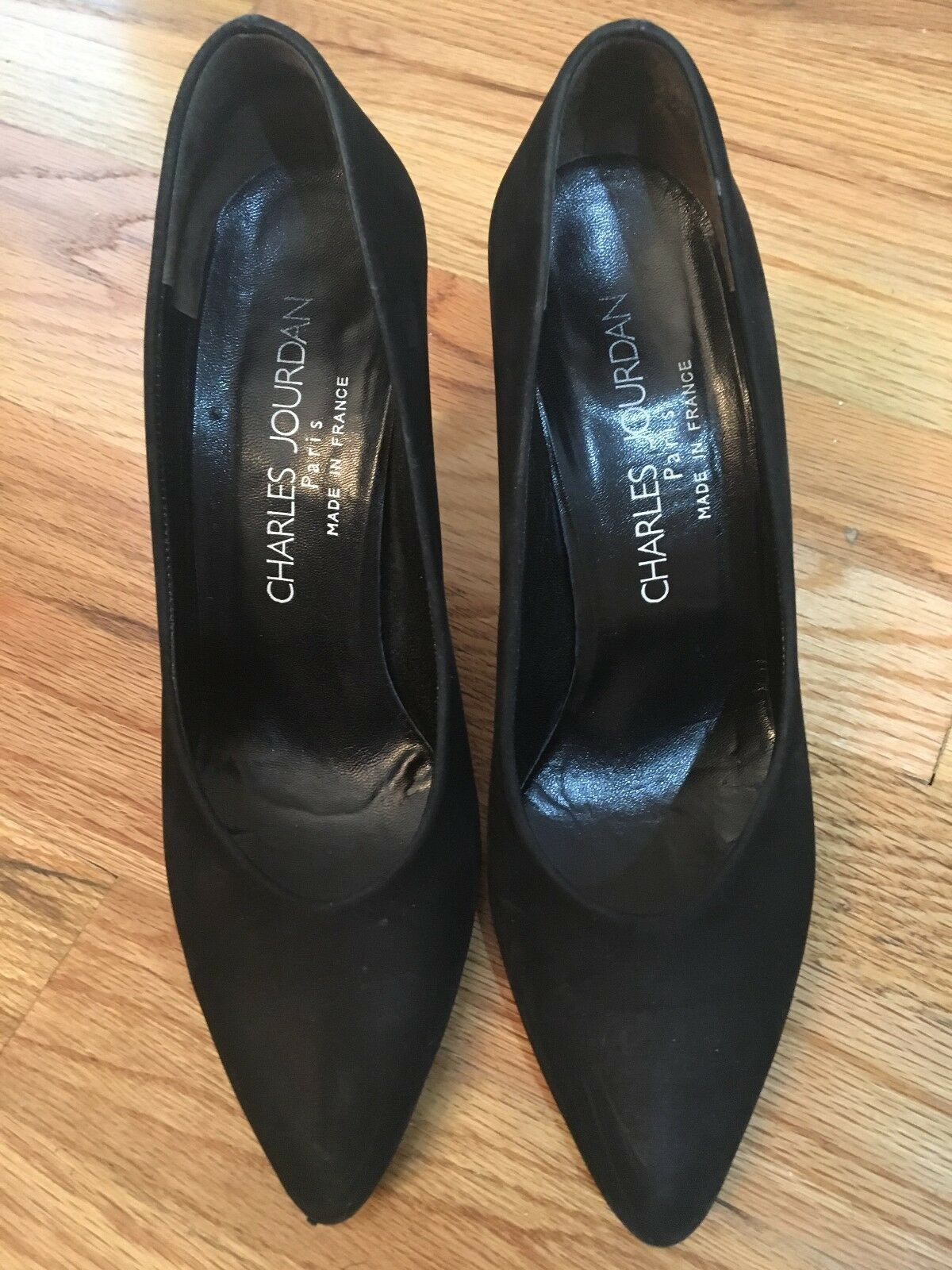 Charles Charles Charles Jourdan shoes  Pumps-Black Suede- Silver Mirror heel Excellent Condition b2c5f7