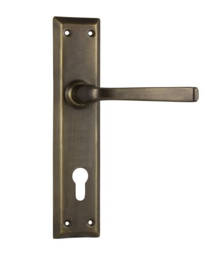 Tradco 0678E85 Door Handle Menton Lever 85mm Euro Antique Brass 225x50mm
