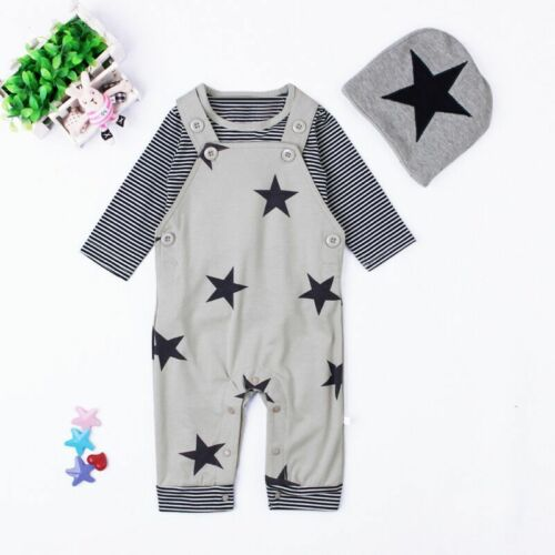 Toddler Newborn Kids Baby Boy Warm Romper Outfits Hat+Jumpsuit Clothes Bodysuit