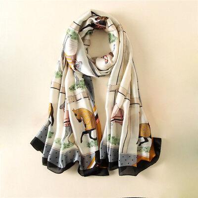 "Luxury Women Fashion Horse Print Scarf Soft Satin Head Shawl Hijab Wraps 35/""*35/"""