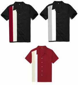 Mens-Shirts-Retro-Rockabilly-Bowling-Shirts-Short-Sleeve-Cotton-Mens-Clothing