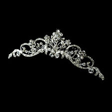 Bridal Wedding Hair Tiara Comb with Floral-design Swarovski Crystals