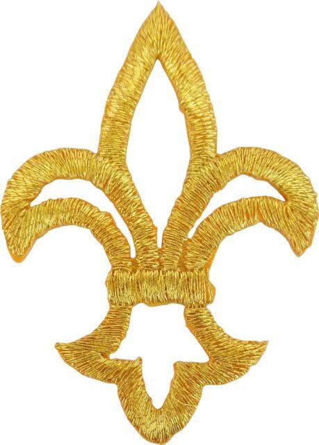 55020 Small Gold Fleur De Lis Boy Scout Symbol French Monarchy Sew