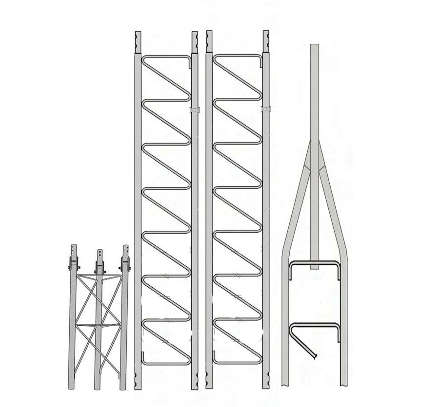 antennapartsoutlet1 Rohn 25G 30' Tower with Hinged Base (Fold Over Base)