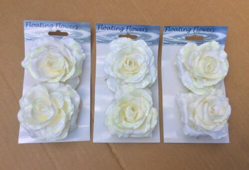 Pack x6 Floating Roses Cream//White Artificial Silk Flowers Wedding