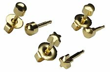 Surgical Steel Ear Piercing Earrings 4mm Gold Tone Multi Shapes Studs 3 Pairs