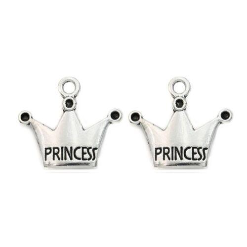 10 x Tibetan Silver Princess Crown Pendant Charms