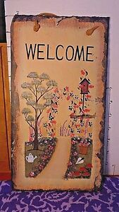 Details about Welcome Slate, Wall Plaque, Flowers and Garden Theme