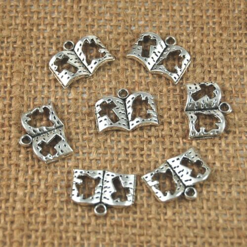 50pcs Tibetan Silver Hollow Cross Book Charms Pendant 17 x 13mm