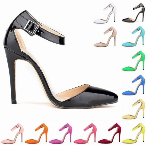 Fashion Womens Patent High Heels Strap Sandals Pumps Court Shoes Size US4-11